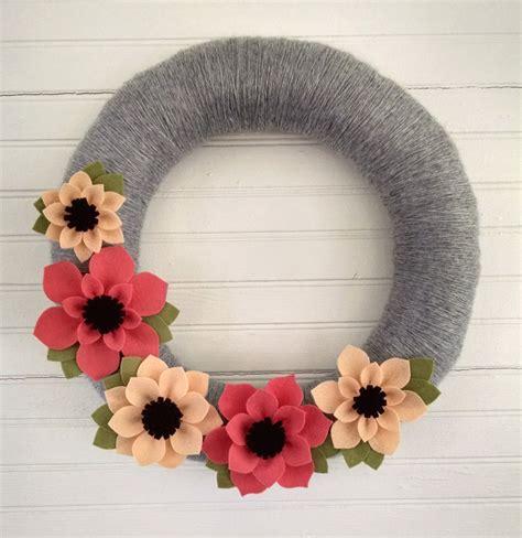 felt wreath wreath felt flower wreath coral wreath