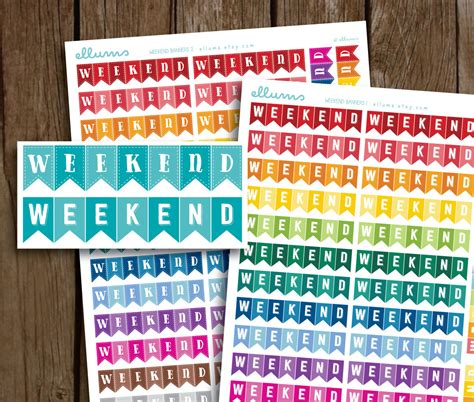 printable weekend stickers weekend banner planner stickers printable instant download
