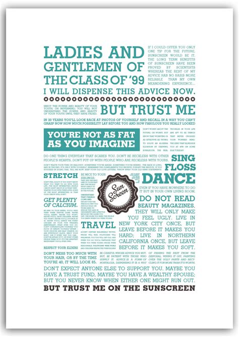 everybody s free to wear sunscreen lyrics print jam