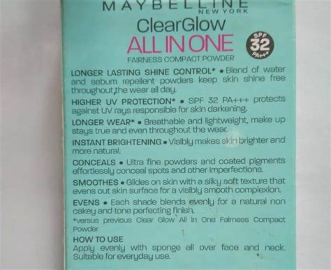 Maybelline Compact Powder maybelline clear glow all in one fairness compact powder