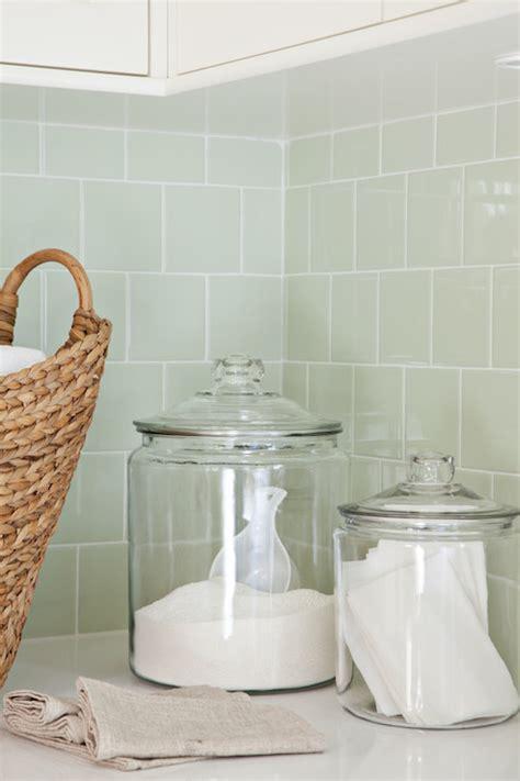 Green Subway Tile Backsplash Contemporary laundry room