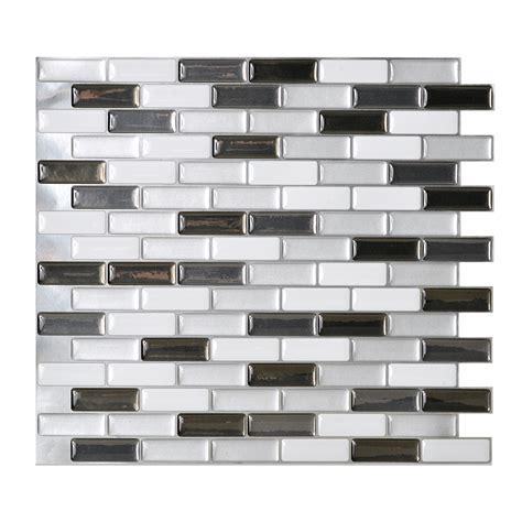 stick on wall shop smart tiles 6 pack white linear mosaic composite
