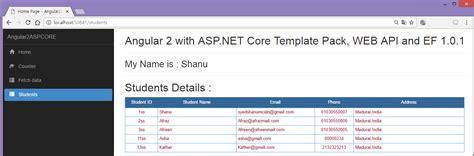 Asp Net Core Angular 2 Ef 1 0 1 Web Api Using Template Pack Angular 2 Template