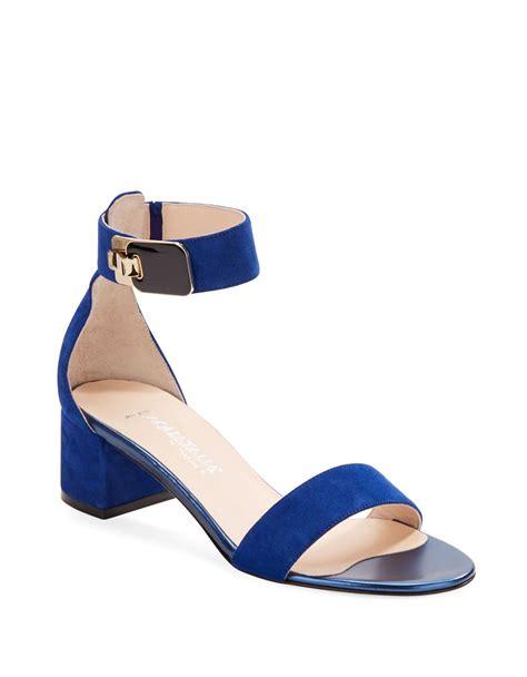 blue block heel sandals aquatalia by marvin k catty block heel sandals in blue lyst