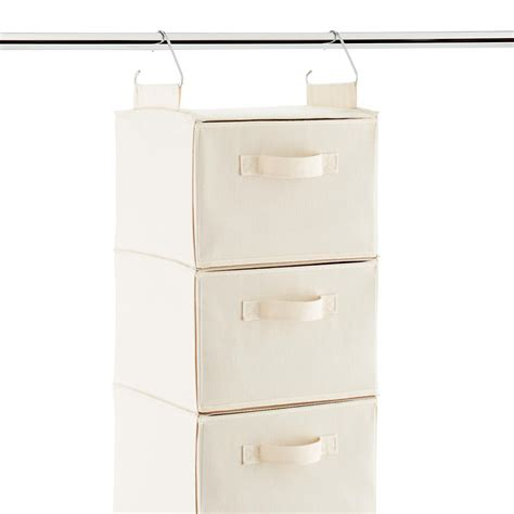 hanging closet storage drawers 3 6 compartment natural canvas hanging sweater