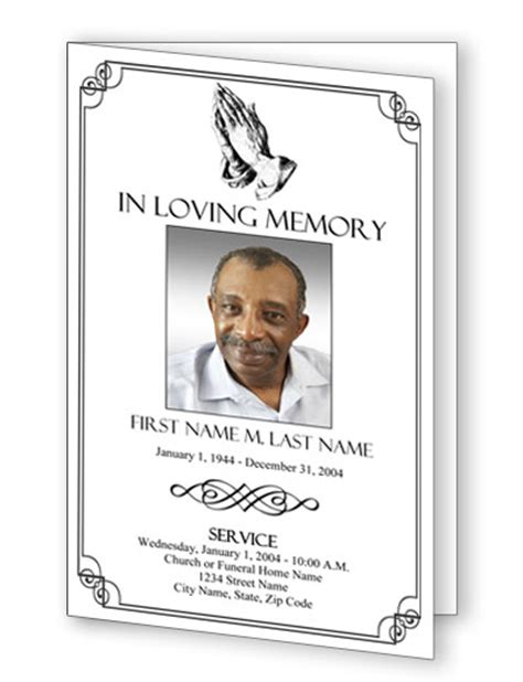 bi fold memorial card template pages funeral program templates funeral programs praying