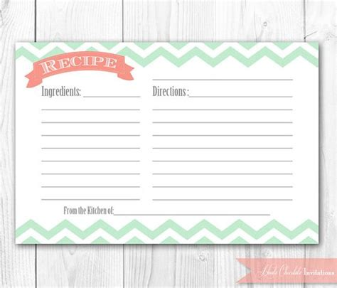 Typeable Recipe Card Template Etsy by Recipe Card Printable Coral And Mint Chevron Recipe