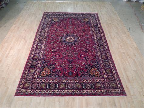 7x11 rug knotted carpet 7x11 semi antique mashad rug quality iranian carpet