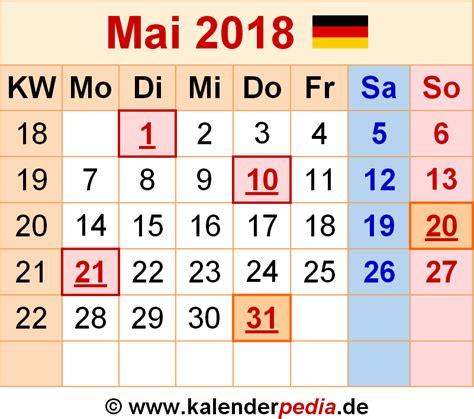 Kalender 2018 April Mai Kalender Mai 2018 Als Pdf Vorlagen