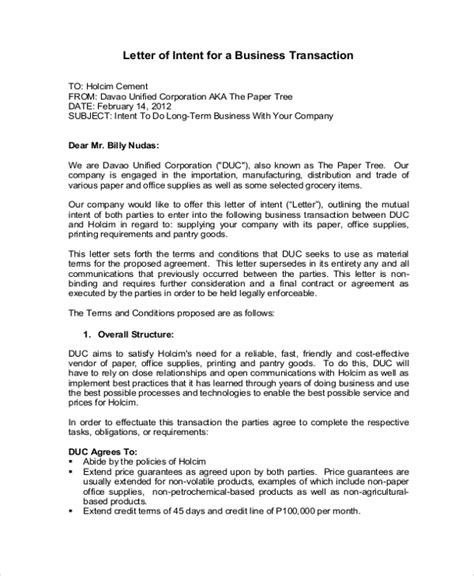 Letter Of Intent New Business Sle Letter Of Intent 43 Exles In Pdf Word