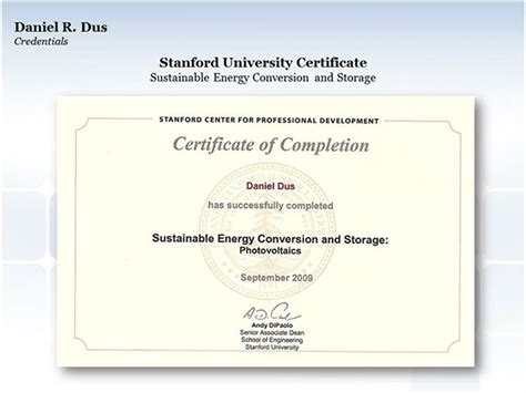 design certificate stanford stanford university certificate photovoltaics on behance