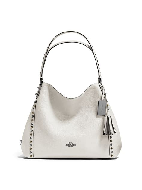 coach edie studded leather shoulder bag in white lyst