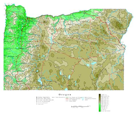 map of oregon highways large detailed elevation map of oregon state with roads