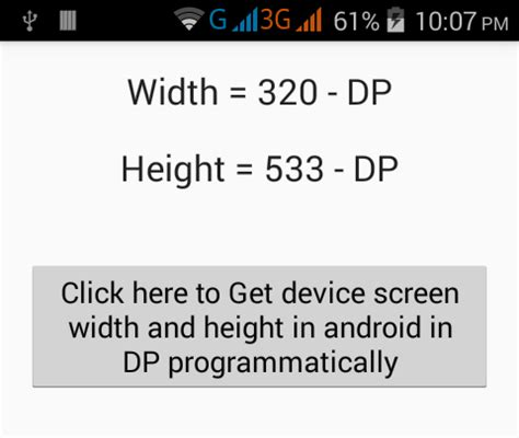 Android Get Layout Width In Dp | get device screen width and height in android in dp
