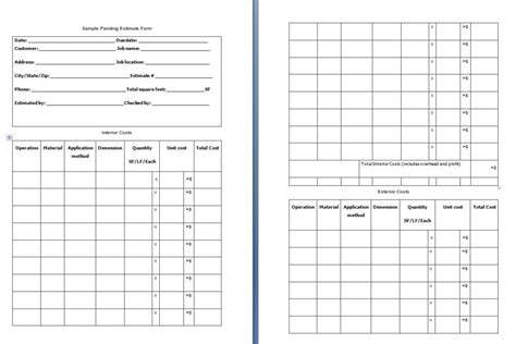 Painting Estimate Form Template Free Formats Excel Word Free Painting Estimate Template