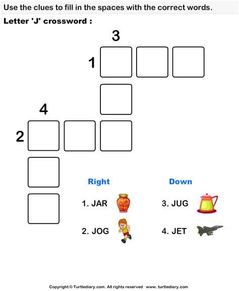 easy crossword puzzles for kindergarten letter j crossword worksheet turtle diary