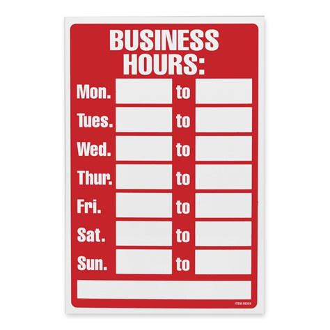 business hours sign template 6 best images of printable office hours sign free