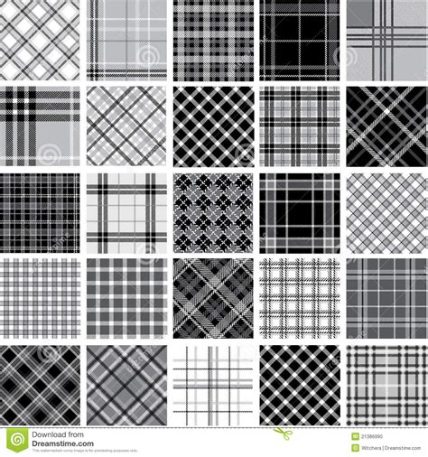 black and white checkered pattern name black white plaid patterns set stock photo image 21386990