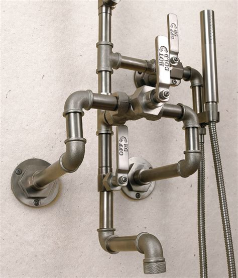 bath and shower fixtures elan vital industrial showerheads and sprays new york by watermark designs