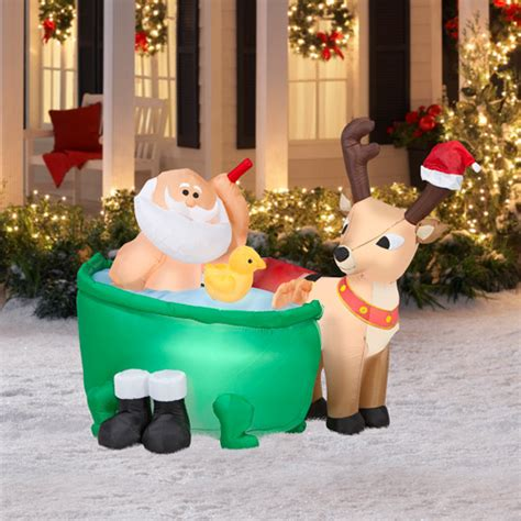 santa in a bathtub 4 5 tall x 4 long airblown santa in bathtub christmas inflatable walmart com