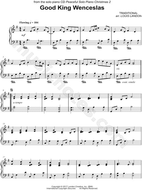 printable lyrics good king wenceslas louis landon quot good king wenceslas quot sheet music piano solo