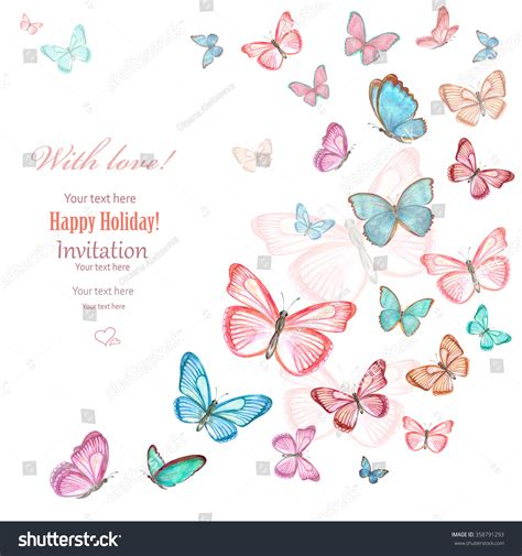 flying butterfly card template invitation card lovely flying butterflies on stock