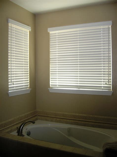 Modern bathroom with recessed bathtub and pictures of outside mount mini blinds popular home