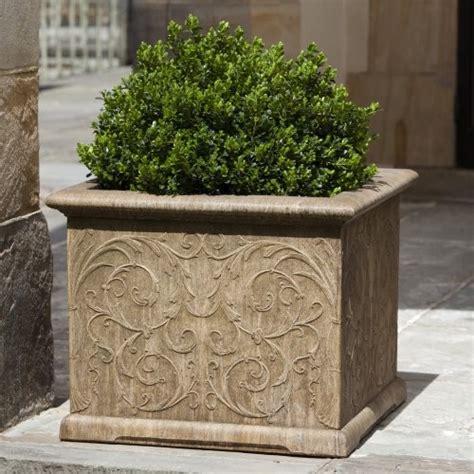 Outdoor Square Planters by Cania International Arabesque Square Cast Planter