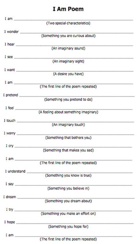 Blog And Provided You With Feedback I Am Poem Template I Am Poem Pinterest Poem Template Reversal Poem Template