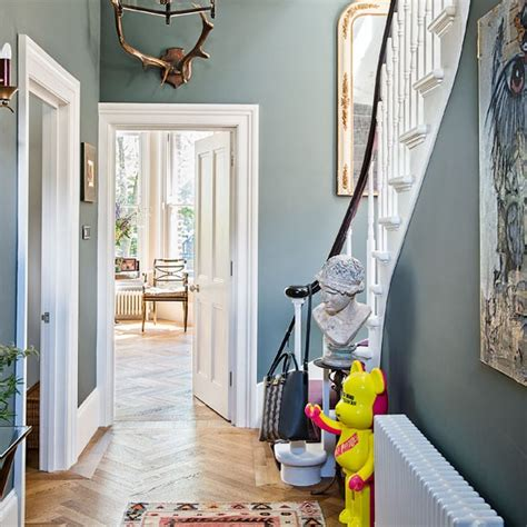 hallway paint ideas classic grey hallway with quirky accents housetohome co uk