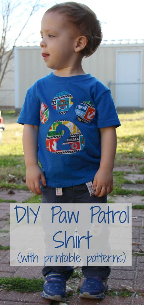 Easy Diy No Sew Paw Patrol Shirt With Free Template Printables Ginger Casa Paw Patrol Birthday Shirt Template