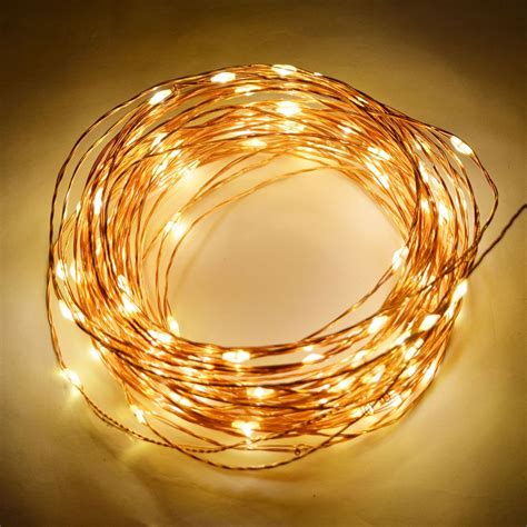 100 warm white led waterproof copper wire micro string lights 33ft ac in jet