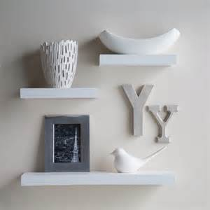 Decorative Wall Bookshelves White Small Floating Shelves On White Wall Design