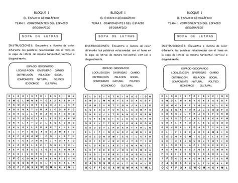 preguntas dificiles sobre geografia sopa de letras de componentes del espacio geografico