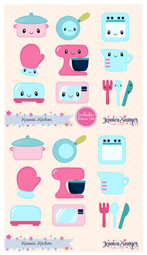 free printable kawaii planner stickers instant download kawaii kitchen clipart and vectors for