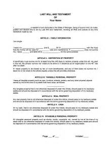last wills and testaments free templates sle will free printable documents
