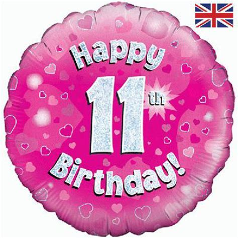18 inch Happy 11th Birthday Pink Foil Balloon   Balloon Market