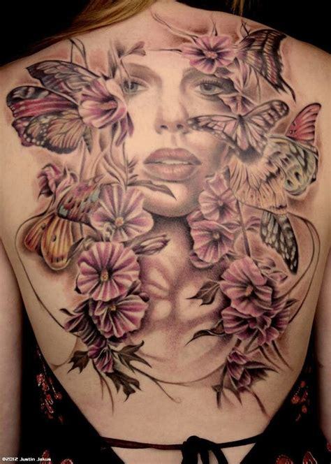 female back piece tattoo designs butterflies flowers girly tattoos