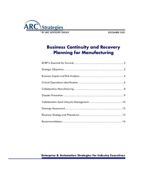 business continuity plan template for manufacturing plan