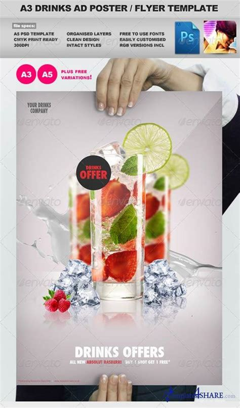 graphicriver a3 drinks promotion advertisement poster
