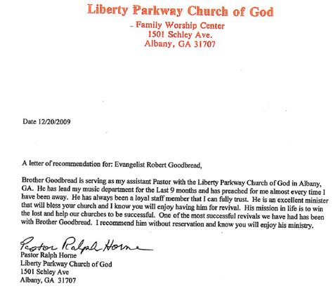 Recommendation Letter For To Minister Recommendation Pastor Horne Goodbread Ministries