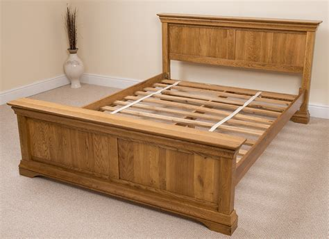 King Size Bed Wood Frame Rustic Solid Oak Wood King Size Bed Frame Bedroom Furniture Ebay