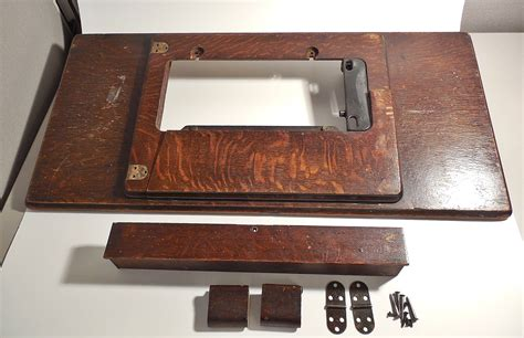 Flip Drawer Front Hardware by Antique Singer Treadle Sewing Machine Table Top Oak Wood