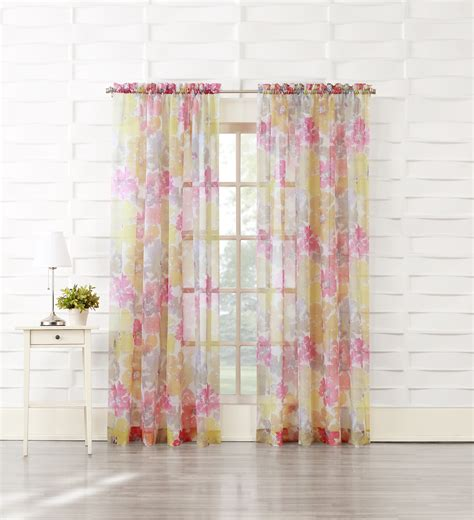 how to drape voile over a curtain pole essential home posey printed voile pole top panel home