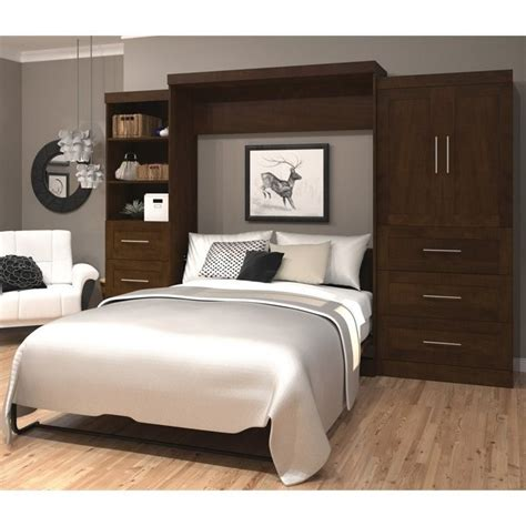 wall bed queen bestar pur queen wall bed with storage in chocolate 26889 69