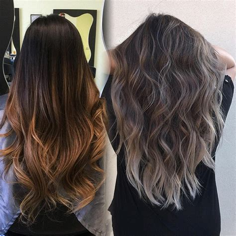 silver brown hair refreshed her 7months old balayage into a dimensional
