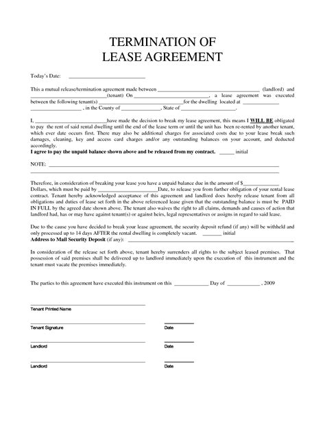 template of a lease agreement early termination of lease agreement template templates
