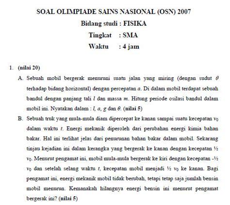Kumpulan Soal Pembahasan Olimpiade Sains Nasional Osn Sma Ma Soal Dan Pembahasan Olimpiade Sains Nasional Osn 2007