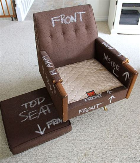 dadds upholstery chalk up an old chair to label new pattern pieces for re