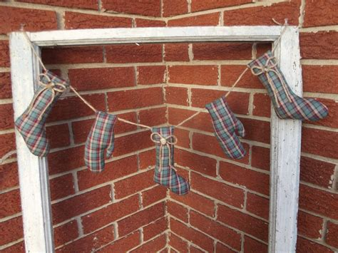 handmade country rustic primitive plaid sock mitten